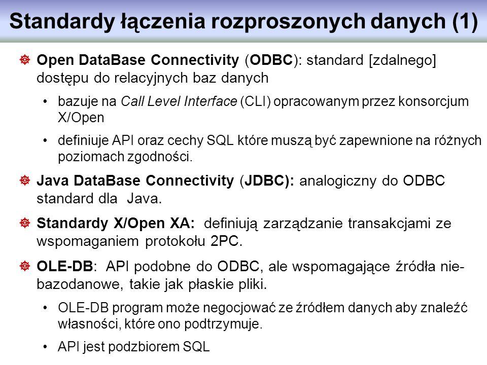 Standardy łączenia rozproszonych danych (1) Open DataBase Connectivity (ODBC): standard [zdalnego] dostępu do relacyjnych baz danych bazuje na Call Le