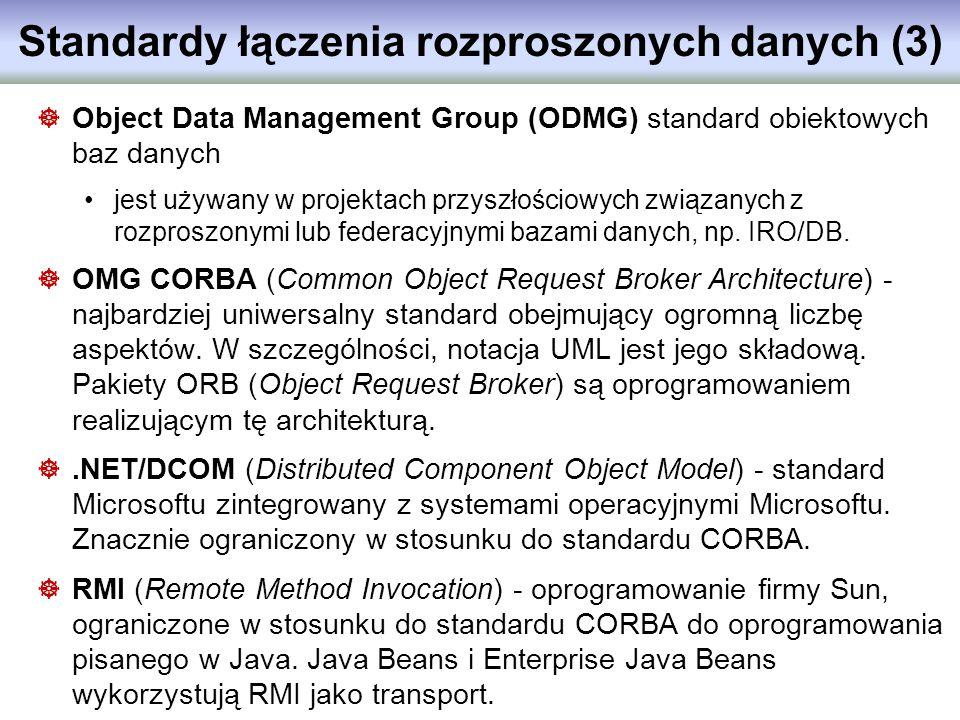 Standardy łączenia rozproszonych danych (3) Object Data Management Group (ODMG) standard obiektowych baz danych jest używany w projektach przyszłościo