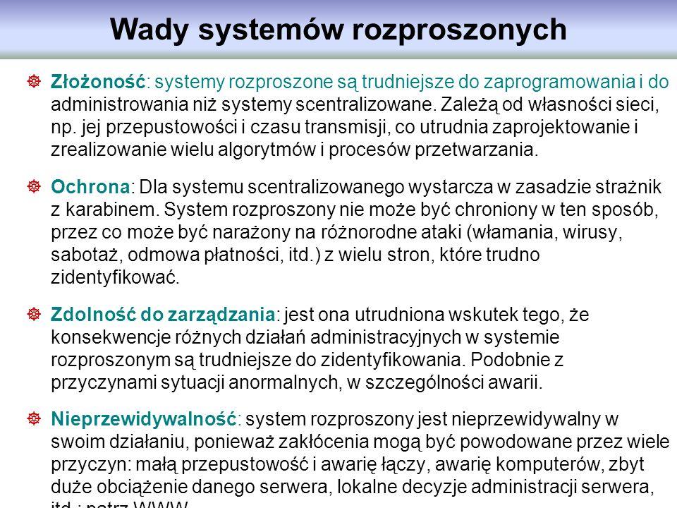 Wady systemów rozproszonych Złożoność: systemy rozproszone są trudniejsze do zaprogramowania i do administrowania niż systemy scentralizowane. Zależą