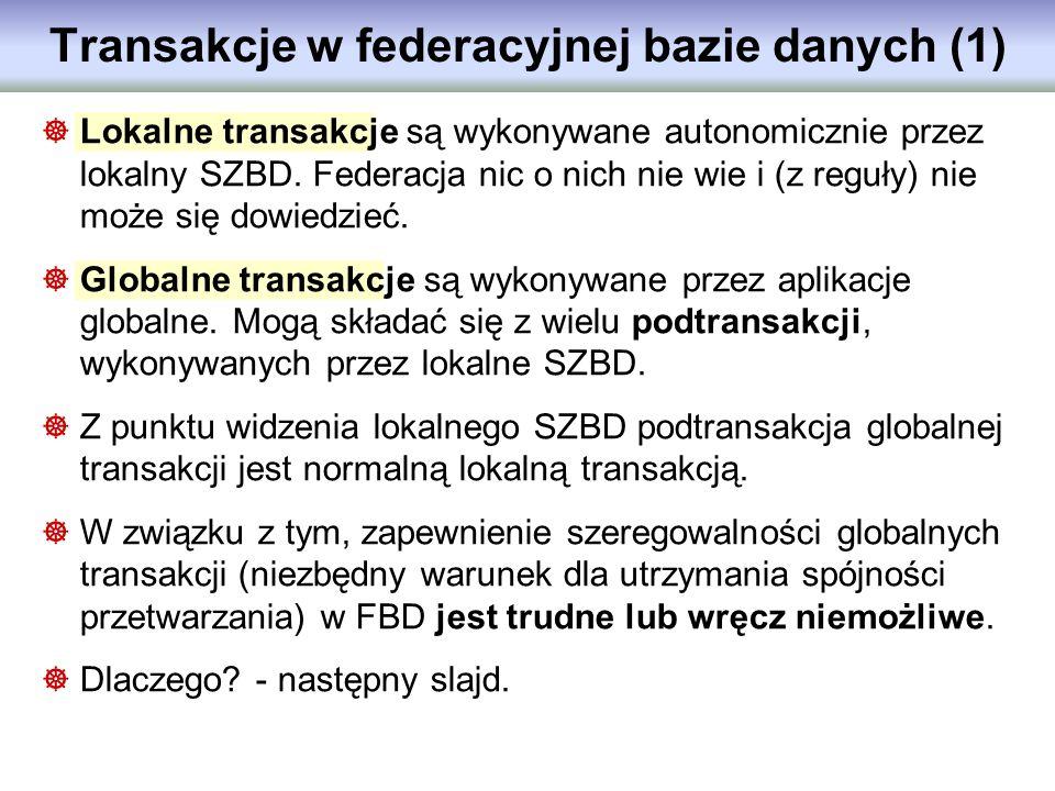 Lokalne transakcje są wykonywane autonomicznie przez lokalny SZBD. Federacja nic o nich nie wie i (z reguły) nie może się dowiedzieć. Globalne transak