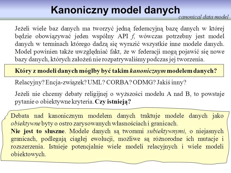 Kanoniczny model danych Jeżeli wiele baz danych ma tworzyć jedną federacyjną bazę danych w której będzie obowiązywać jeden wspólny API f, wówczas potr
