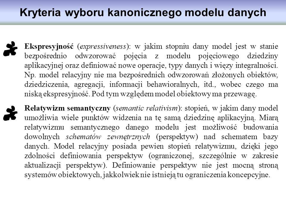 Kryteria wyboru kanonicznego modelu danych Ekspresyjność (expressiveness): w jakim stopniu dany model jest w stanie bezpośrednio odwzorować pojęcia z
