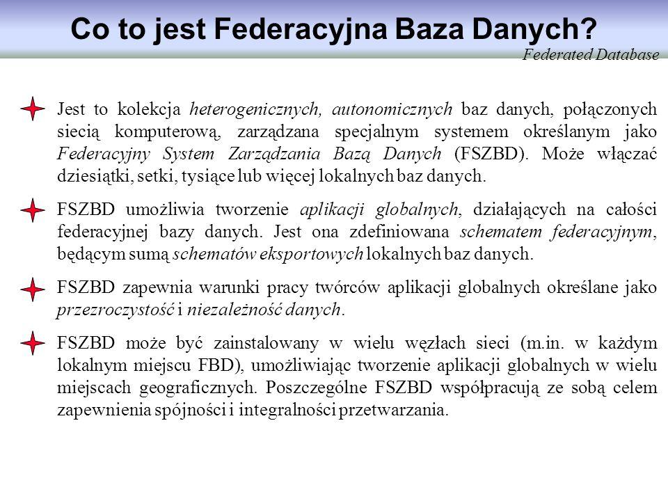 Co to jest Federacyjna Baza Danych? Jest to kolekcja heterogenicznych, autonomicznych baz danych, połączonych siecią komputerową, zarządzana specjalny