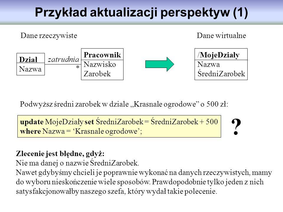 Przykład aktualizacji perspektyw (1) Dział Nazwa Pracownik Nazwisko Zarobek /MojeDziały Nazwa ŚredniZarobek Dane rzeczywisteDane wirtualne Podwyższ śr