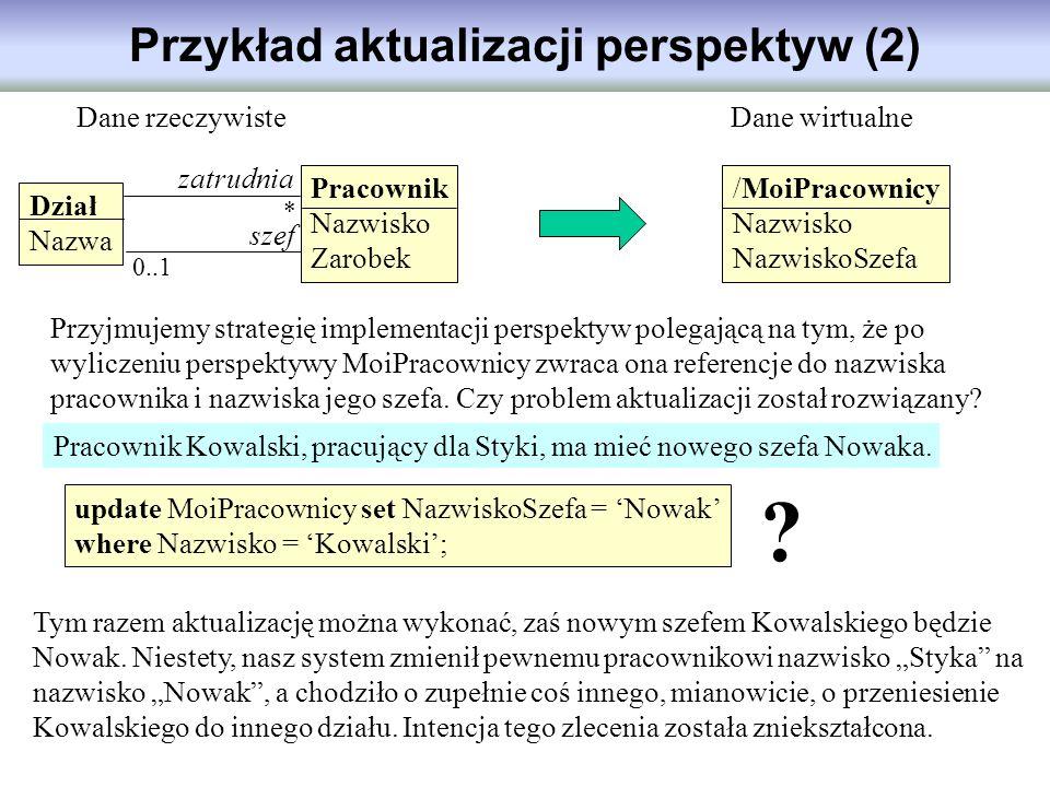 Przykład aktualizacji perspektyw (2) Dział Nazwa Pracownik Nazwisko Zarobek /MoiPracownicy Nazwisko NazwiskoSzefa Dane rzeczywisteDane wirtualne zatru