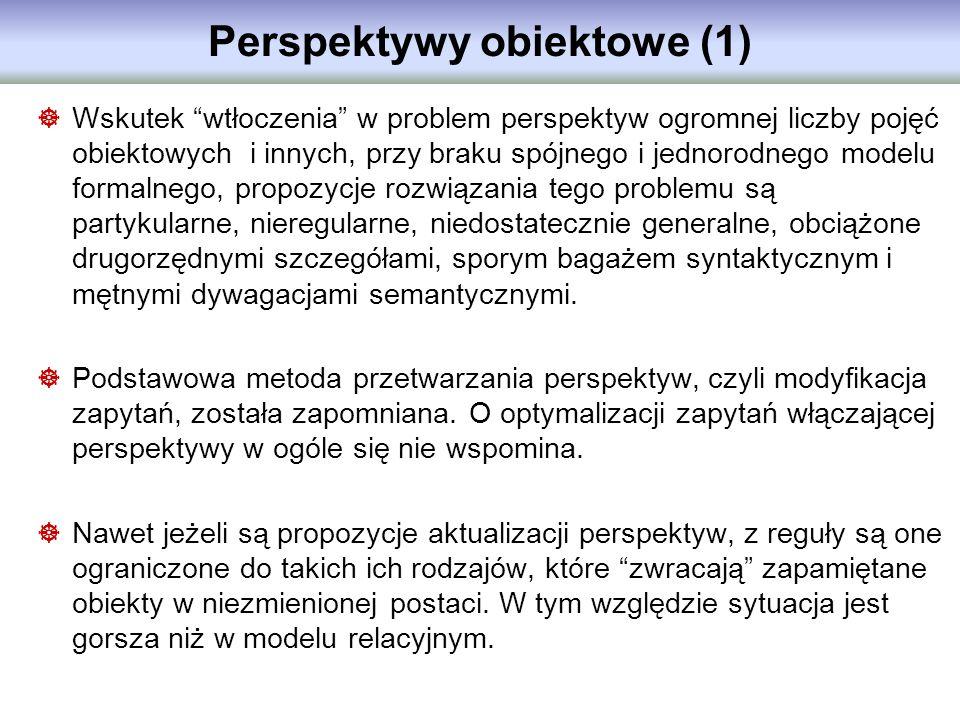 Perspektywy obiektowe (1) Wskutek wtłoczenia w problem perspektyw ogromnej liczby pojęć obiektowych i innych, przy braku spójnego i jednorodnego model