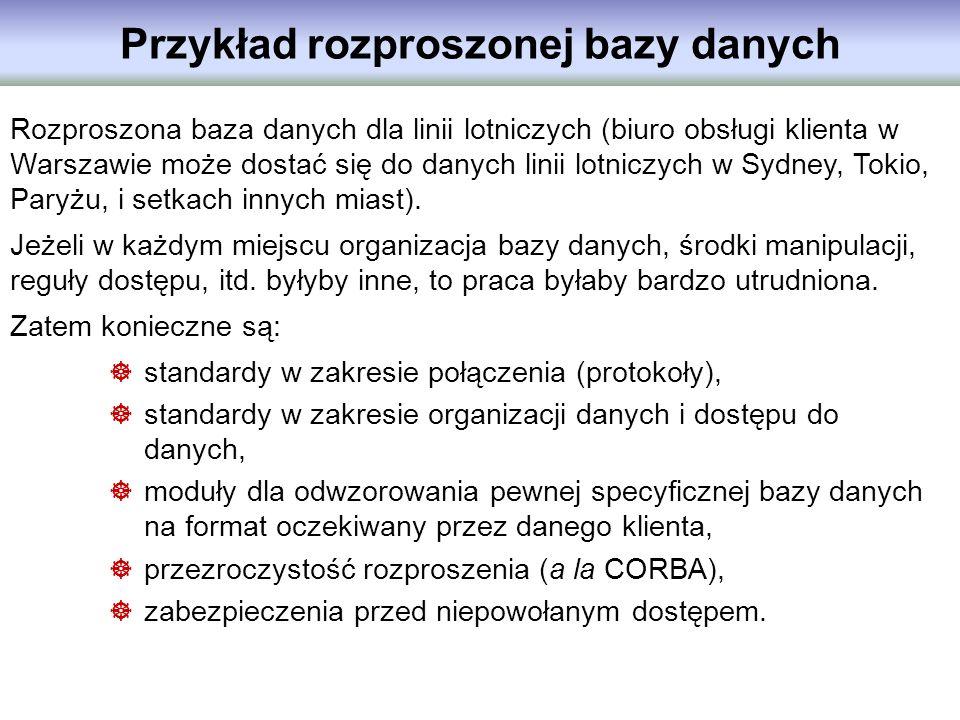 Przykład rozproszonej bazy danych Rozproszona baza danych dla linii lotniczych (biuro obsługi klienta w Warszawie może dostać się do danych linii lotn