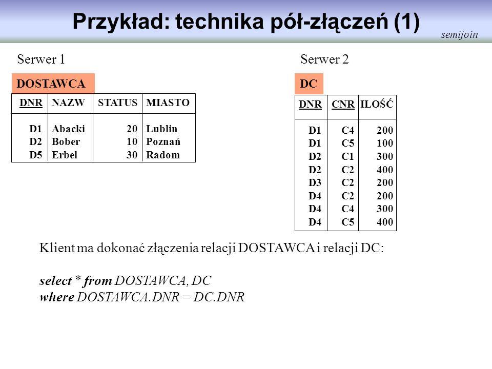 Przykład: technika pół-złączeń (1) DOSTAWCA DNR D1 D2 D5 NAZW Abacki Bober Erbel STATUS 20 10 30 MIASTO Lublin Poznań Radom DC DNR D1 D2 D3 D4 CNR C4