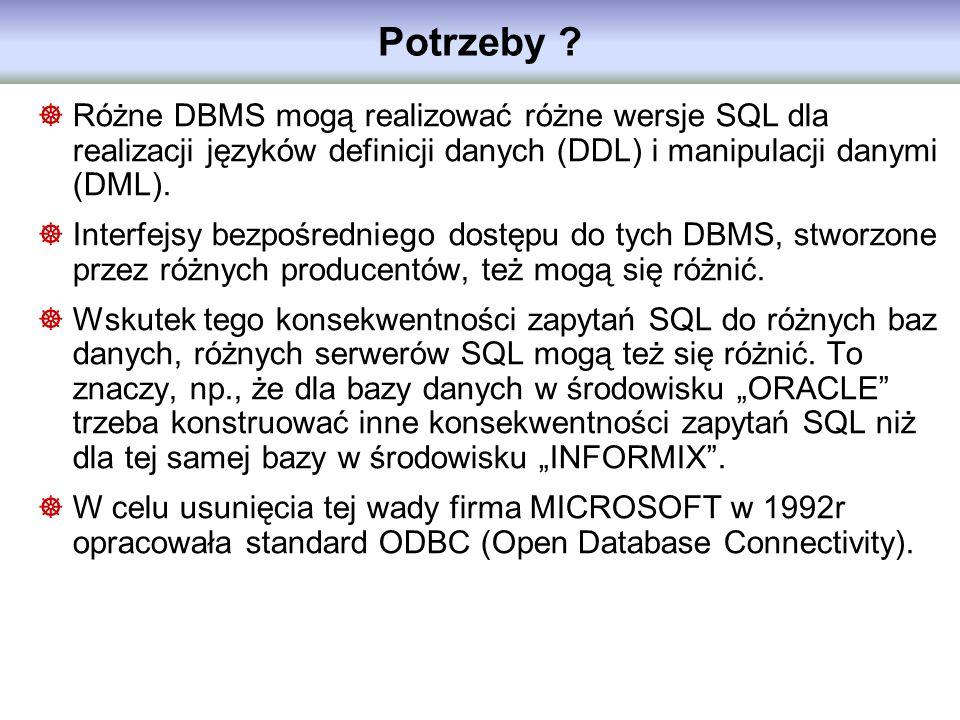 Potrzeby ? Różne DBMS mogą realizować różne wersje SQL dla realizacji języków definicji danych (DDL) i manipulacji danymi (DML). Interfejsy bezpośredn