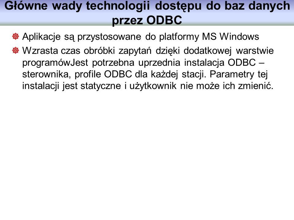 Główne wady technologii dostępu do baz danych przez ODBC Aplikacje są przystosowane do platformy MS Windows Wzrasta czas obróbki zapytań dzięki dodatk