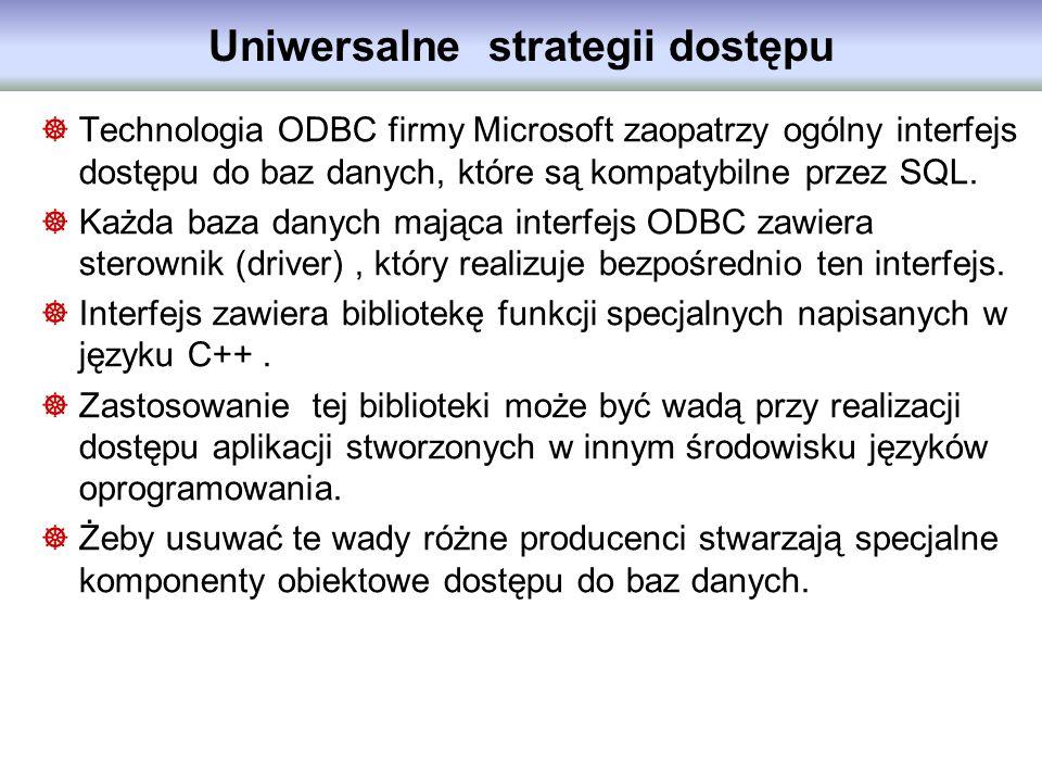 Uniwersalne strategii dostępu Technologia ODBC firmy Microsoft zaopatrzy ogólny interfejs dostępu do baz danych, które są kompatybilne przez SQL. Każd