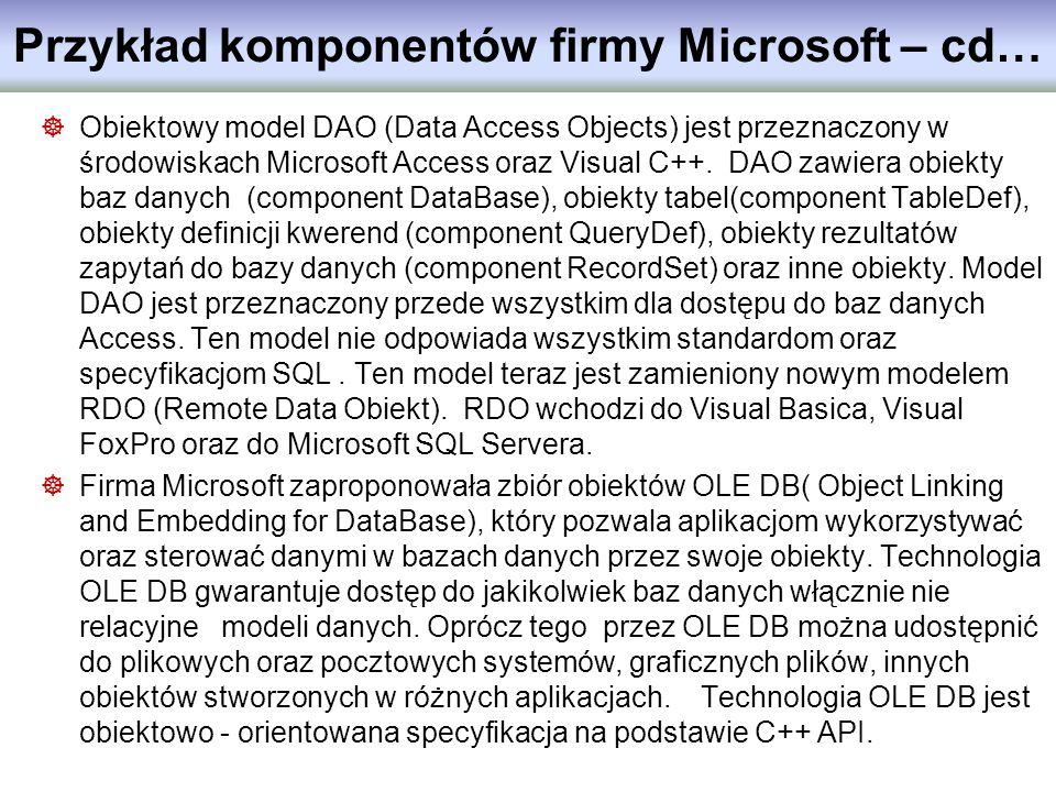 Przykład komponentów firmy Microsoft – cd… Obiektowy model DAO (Data Access Objects) jest przeznaczony w środowiskach Microsoft Access oraz Visual C++
