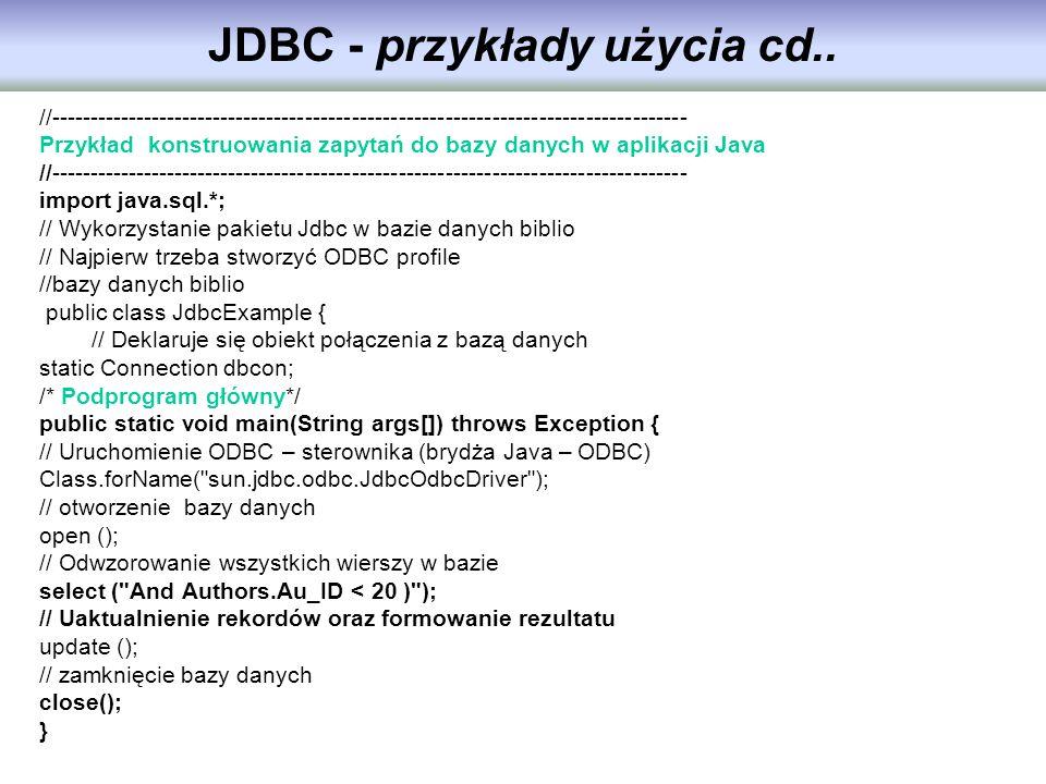 //---------------------------------------------------------------------------------- Przykład konstruowania zapytań do bazy danych w aplikacji Java //