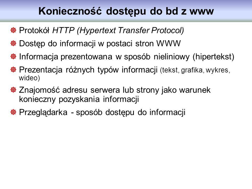 Konieczność dostępu do bd z www Protokół HTTP (Hypertext Transfer Protocol) Dostęp do informacji w postaci stron WWW Informacja prezentowana w sposób