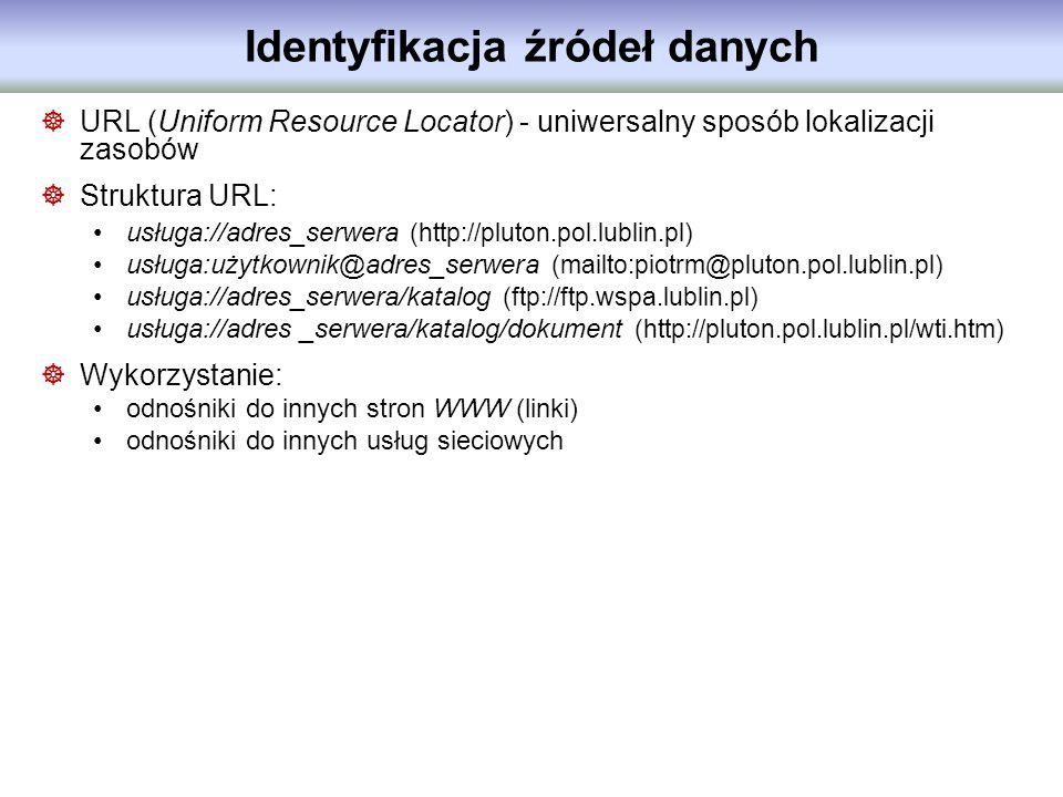 Identyfikacja źródeł danych URL (Uniform Resource Locator) - uniwersalny sposób lokalizacji zasobów Struktura URL: usługa://adres_serwera (http://plut