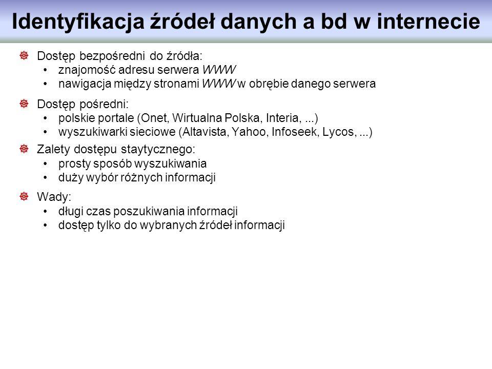 Identyfikacja źródeł danych a bd w internecie Dostęp bezpośredni do źródła: znajomość adresu serwera WWW nawigacja między stronami WWW w obrębie daneg