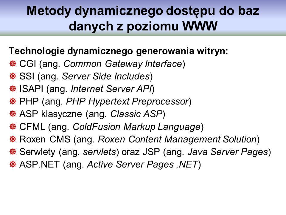 Metody dynamicznego dostępu do baz danych z poziomu WWW Technologie dynamicznego generowania witryn: CGI (ang. Common Gateway Interface) SSI (ang. Ser