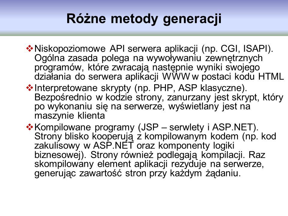Różne metody generacji Niskopoziomowe API serwera aplikacji (np. CGI, ISAPI). Ogólna zasada polega na wywoływaniu zewnętrznych programów, które zwraca