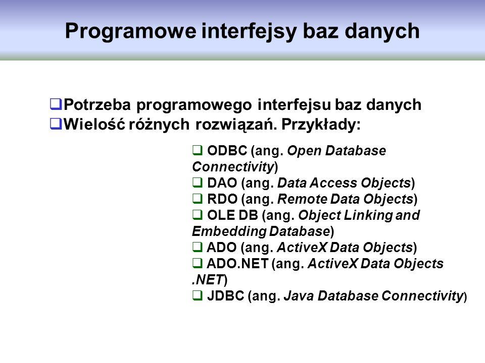 Programowe interfejsy baz danych Potrzeba programowego interfejsu baz danych Wielość różnych rozwiązań. Przykłady: ODBC (ang. Open Database Connectivi