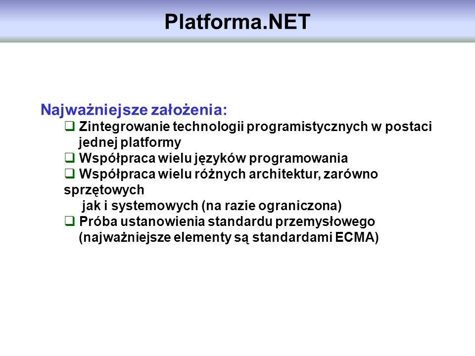 Platforma.NET Najważniejsze założenia: Zintegrowanie technologii programistycznych w postaci jednej platformy Współpraca wielu języków programowania W