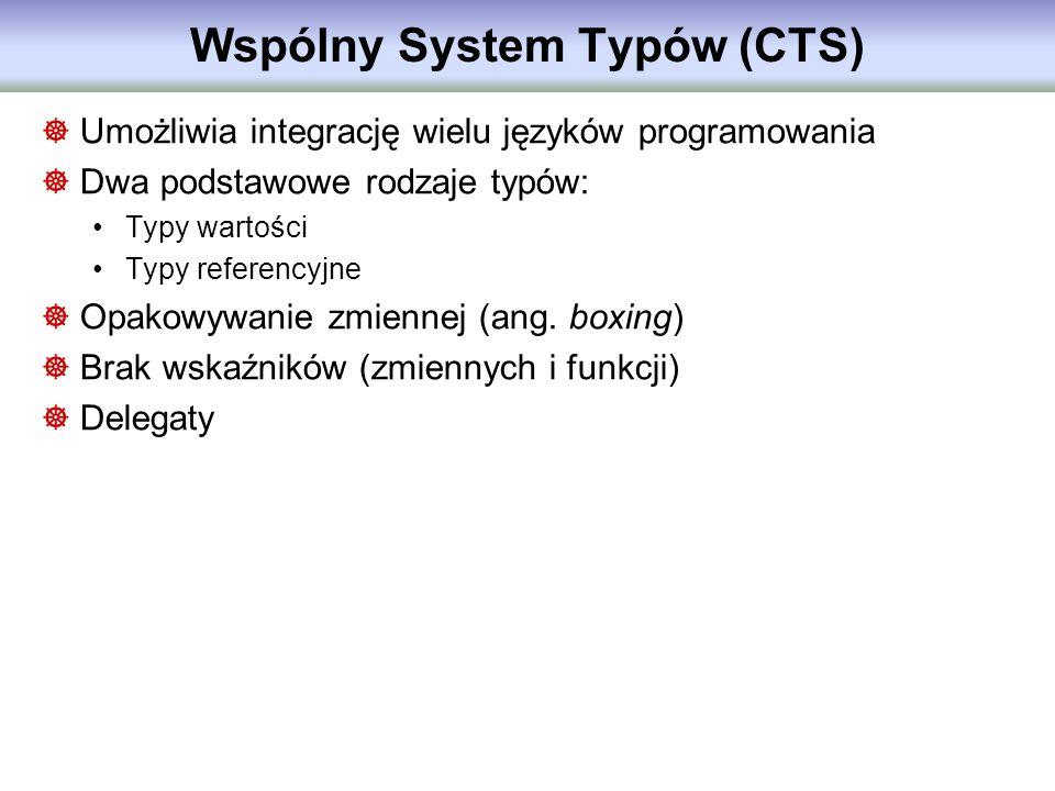 Wspólny System Typów (CTS) Umożliwia integrację wielu języków programowania Dwa podstawowe rodzaje typów: Typy wartości Typy referencyjne Opakowywanie