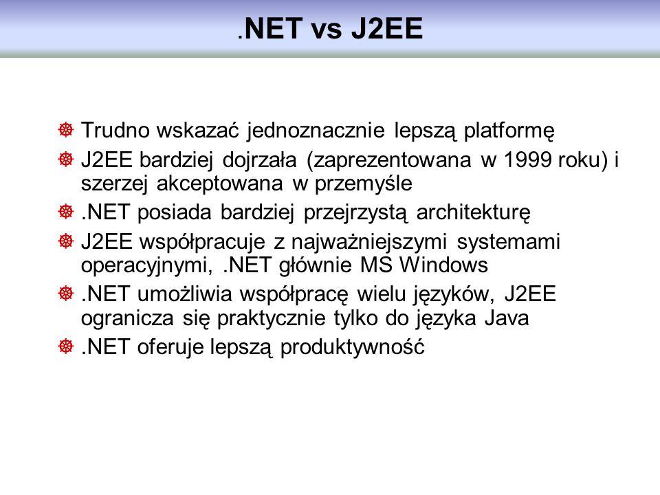 . NET vs J2EE Trudno wskazać jednoznacznie lepszą platformę J2EE bardziej dojrzała (zaprezentowana w 1999 roku) i szerzej akceptowana w przemyśle.NET