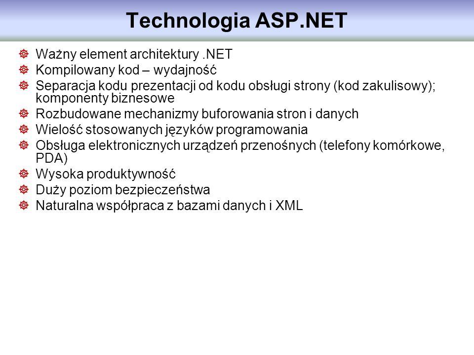 Technologia ASP.NET Ważny element architektury.NET Kompilowany kod – wydajność Separacja kodu prezentacji od kodu obsługi strony (kod zakulisowy); kom
