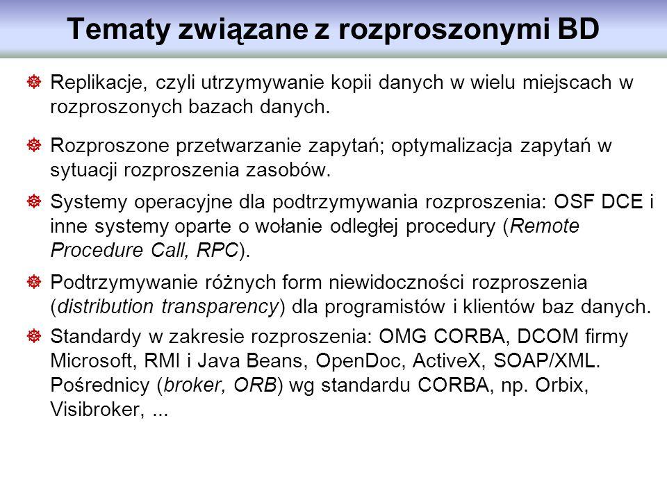 Tematy związane z rozproszonymi BD Replikacje, czyli utrzymywanie kopii danych w wielu miejscach w rozproszonych bazach danych. Rozproszone przetwarza