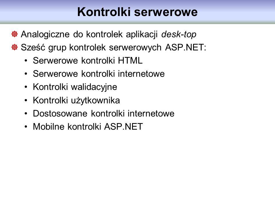 Kontrolki serwerowe Analogiczne do kontrolek aplikacji desk-top Sześć grup kontrolek serwerowych ASP.NET: Serwerowe kontrolki HTML Serwerowe kontrolki