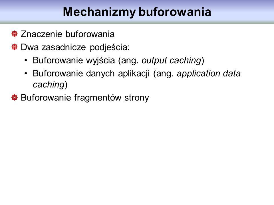Mechanizmy buforowania Znaczenie buforowania Dwa zasadnicze podjeścia: Buforowanie wyjścia (ang. output caching) Buforowanie danych aplikacji (ang. ap