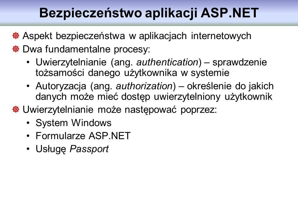 Bezpieczeństwo aplikacji ASP.NET Aspekt bezpieczeństwa w aplikacjach internetowych Dwa fundamentalne procesy: Uwierzytelnianie (ang. authentication) –