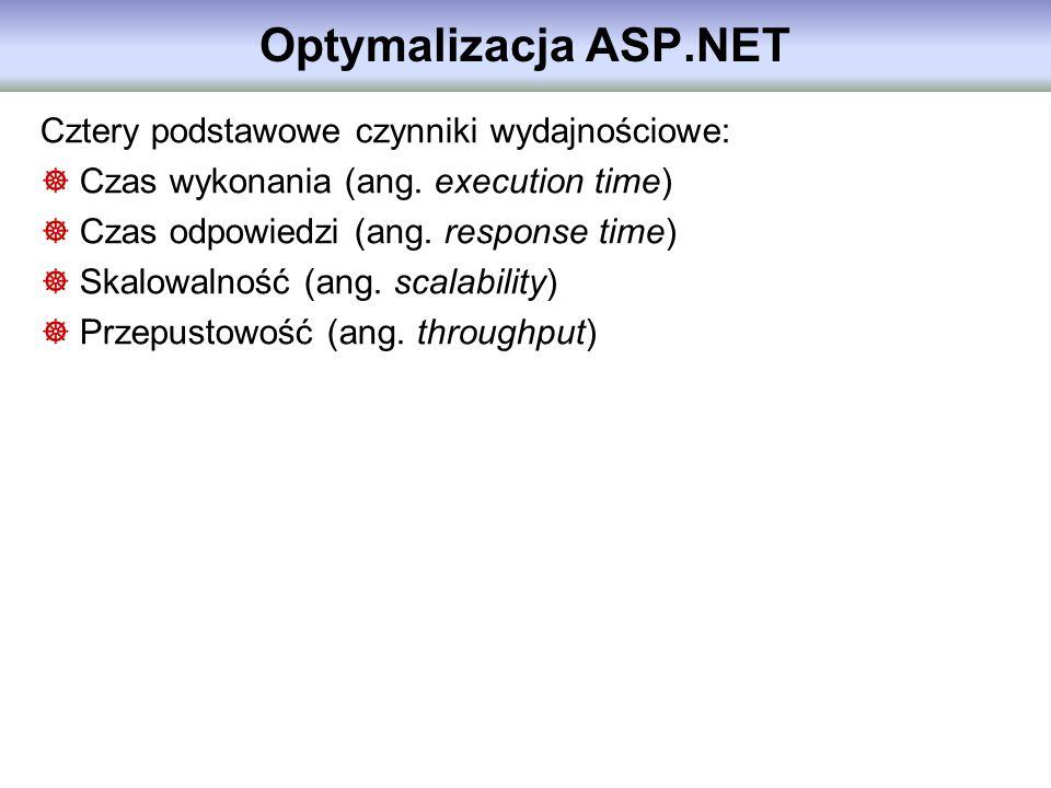 Optymalizacja ASP.NET Cztery podstawowe czynniki wydajnościowe: Czas wykonania (ang. execution time) Czas odpowiedzi (ang. response time) Skalowalność