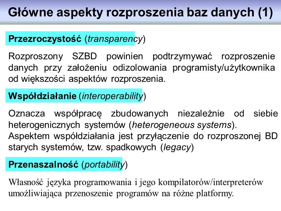 Główne aspekty rozproszenia baz danych (1) Rozproszony SZBD powinien podtrzymywać rozproszenie danych przy założeniu odizolowania programisty/użytkown
