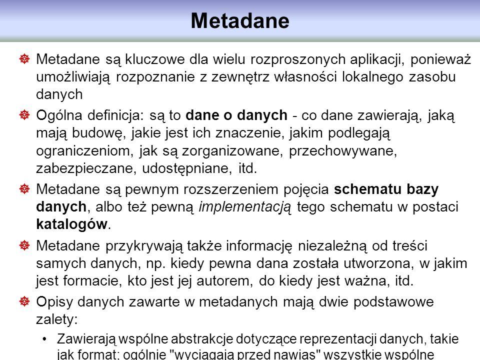 Metadane Metadane są kluczowe dla wielu rozproszonych aplikacji, ponieważ umożliwiają rozpoznanie z zewnętrz własności lokalnego zasobu danych Ogólna