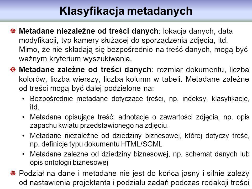 Klasyfikacja metadanych Metadane niezależne od treści danych: lokacja danych, data modyfikacji, typ kamery służącej do sporządzenia zdjęcia, itd. Mimo