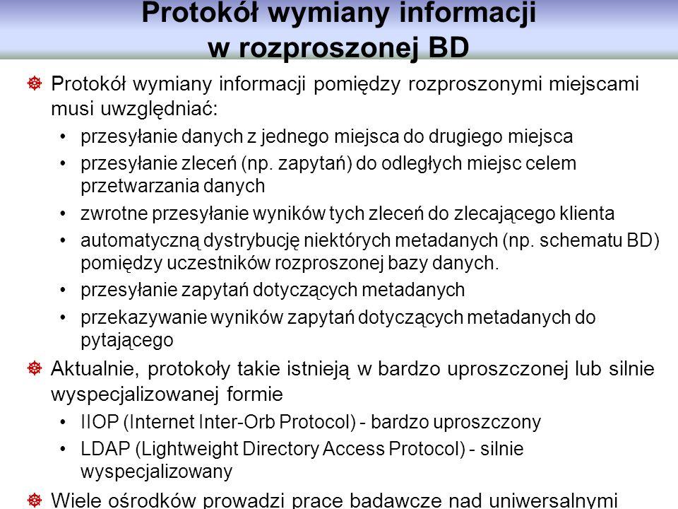Protokół wymiany informacji w rozproszonej BD Protokół wymiany informacji pomiędzy rozproszonymi miejscami musi uwzględniać: przesyłanie danych z jedn