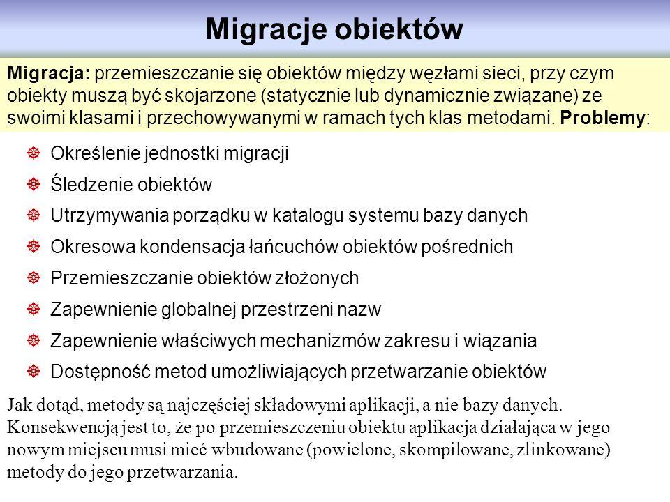 Migracje obiektów Migracja: przemieszczanie się obiektów między węzłami sieci, przy czym obiekty muszą być skojarzone (statycznie lub dynamicznie zwią