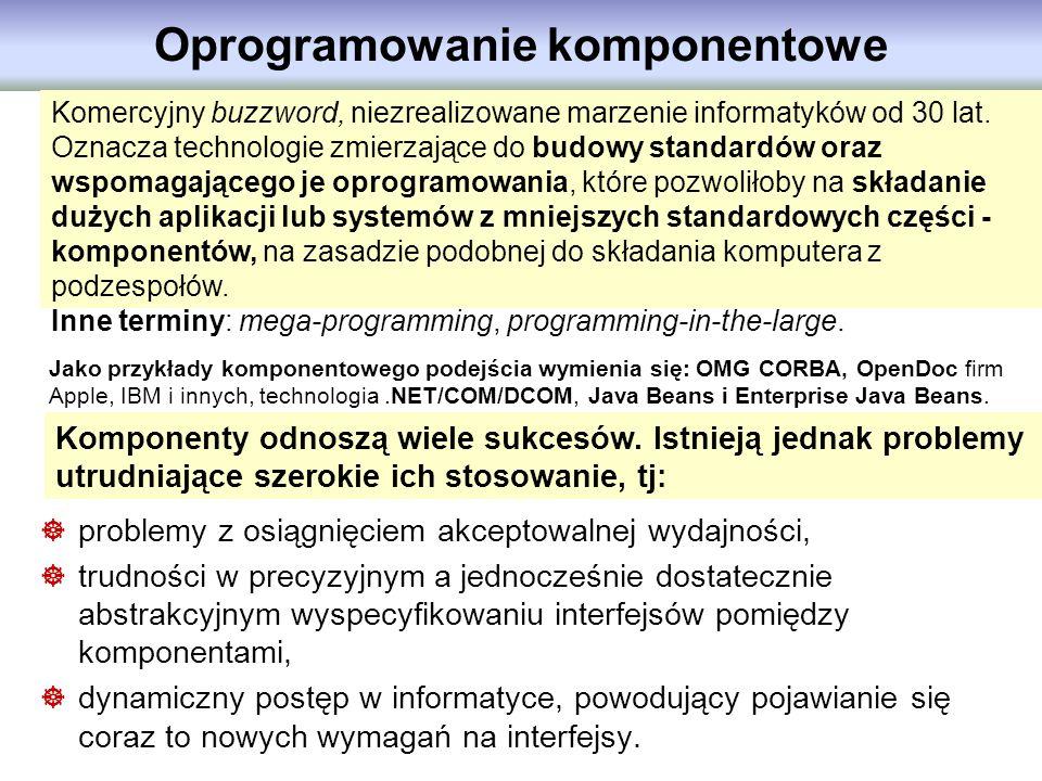 Oprogramowanie komponentowe Komercyjny buzzword, niezrealizowane marzenie informatyków od 30 lat. Oznacza technologie zmierzające do budowy standardów