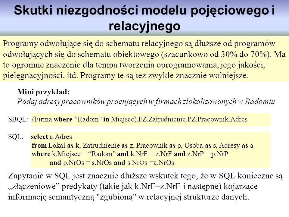 SBQL: (Firma where Radom in Miejsce).FZ.Zatrudnienie.PZ.Pracownik.Adres SQL: select a.Adres from Lokal as k, Zatrudnienie as z, Pracownik as p, Osoba