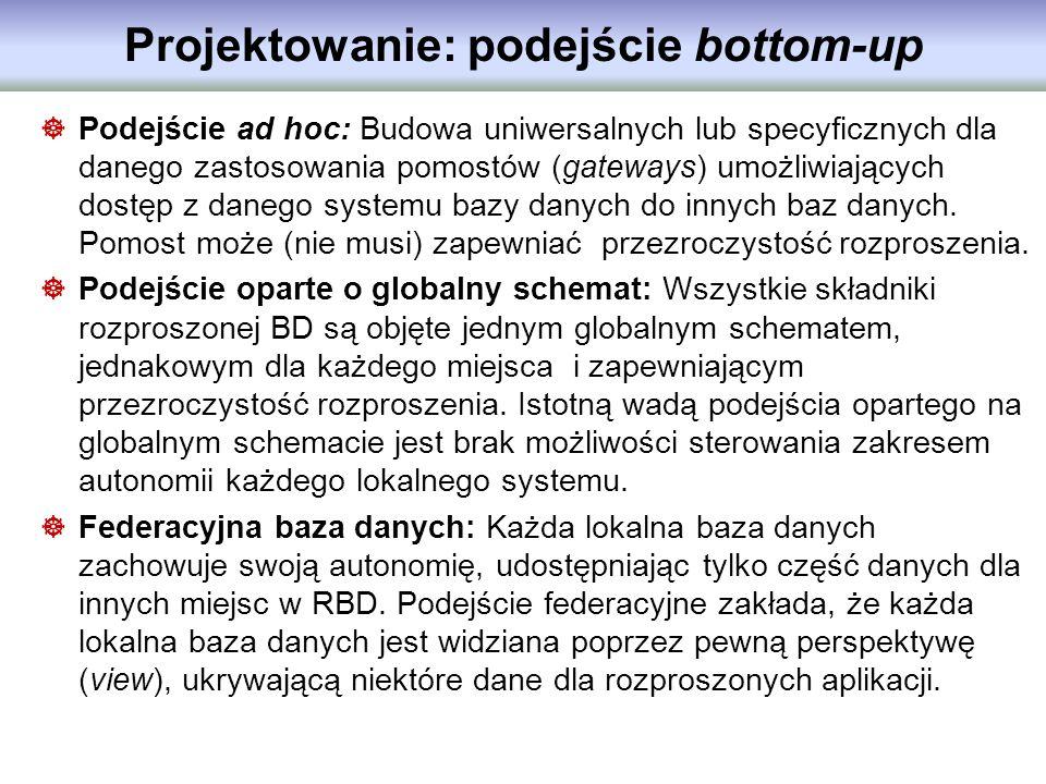 Projektowanie: podejście bottom-up Podejście ad hoc: Budowa uniwersalnych lub specyficznych dla danego zastosowania pomostów (gateways) umożliwiającyc