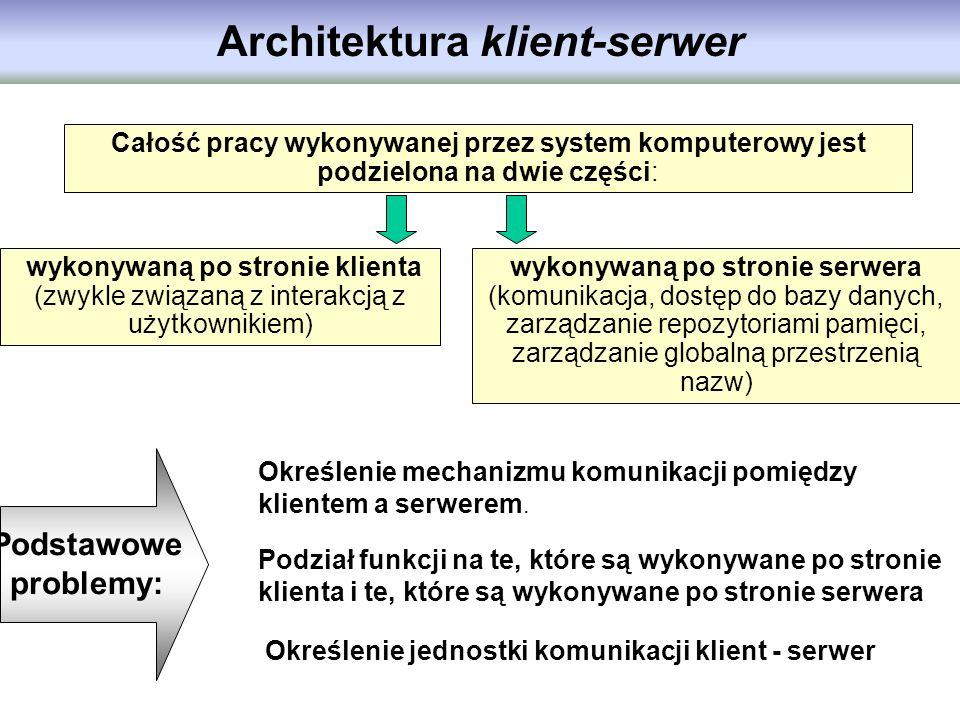 Architektura klient-serwer Całość pracy wykonywanej przez system komputerowy jest podzielona na dwie części: wykonywaną po stronie klienta (zwykle zwi