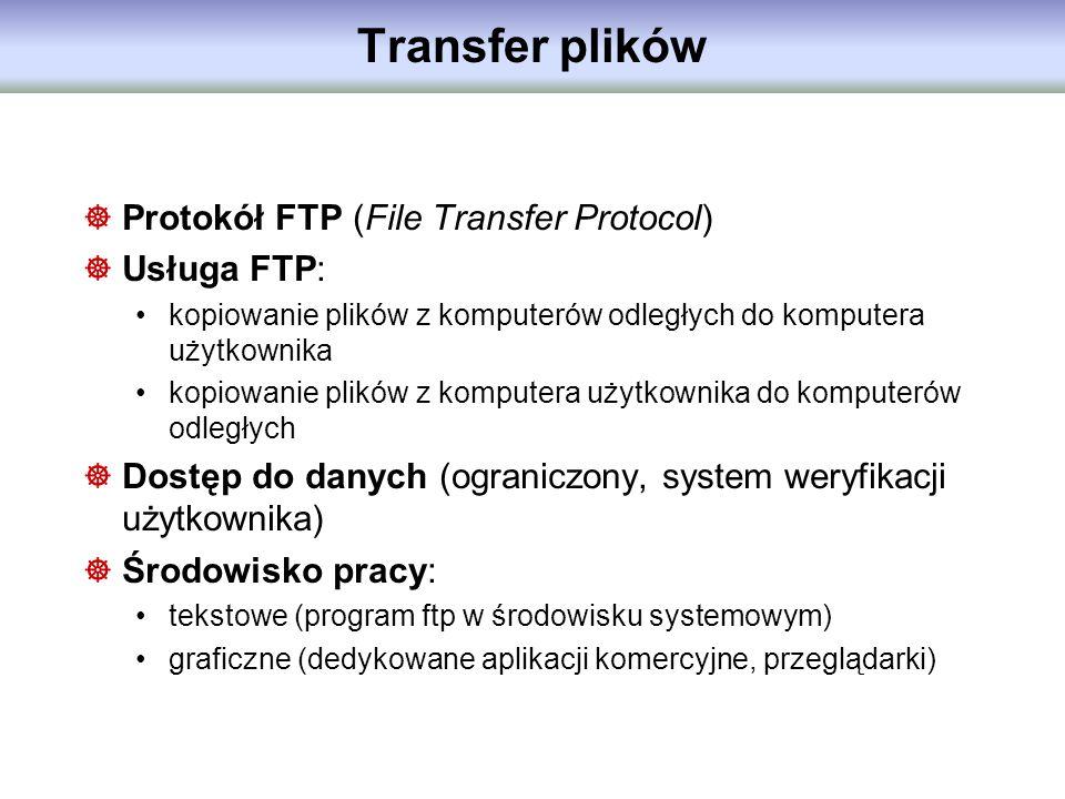 Transfer plików Protokół FTP (File Transfer Protocol) Usługa FTP: kopiowanie plików z komputerów odległych do komputera użytkownika kopiowanie plików