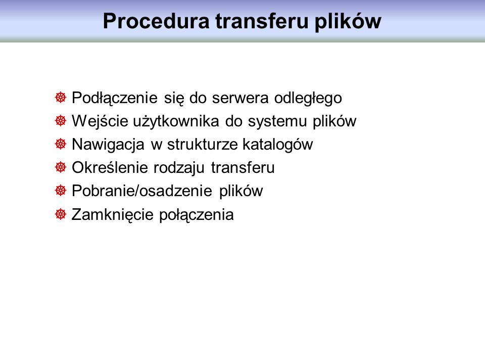 Procedura transferu plików Podłączenie się do serwera odległego Wejście użytkownika do systemu plików Nawigacja w strukturze katalogów Określenie rodz
