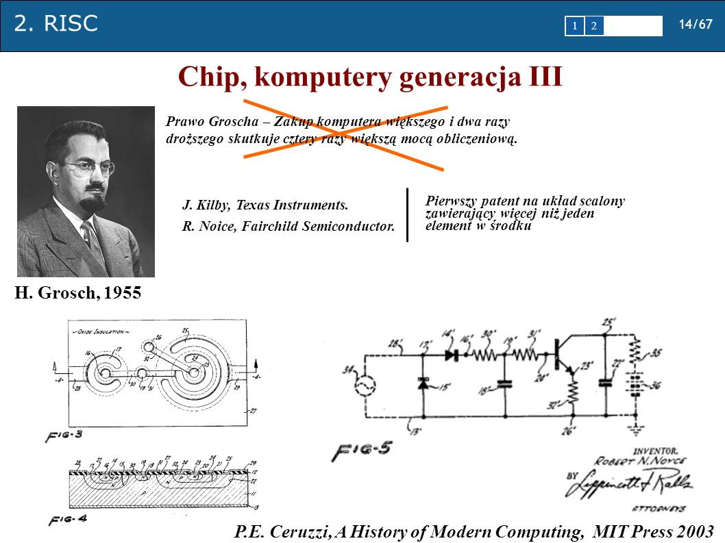 2. RISC 14/67 1 2345 Chip, komputery generacja III H. Grosch, 1955 Prawo Groscha – Zakup komputera większego i dwa razy droższego skutkuje cztery razy