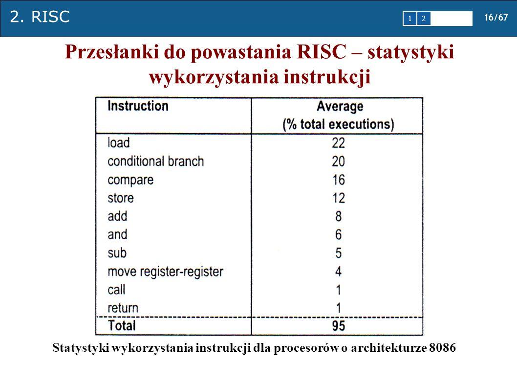 2. RISC 16/67 1 2345 Przesłanki do powastania RISC – statystyki wykorzystania instrukcji Statystyki wykorzystania instrukcji dla procesorów o architek