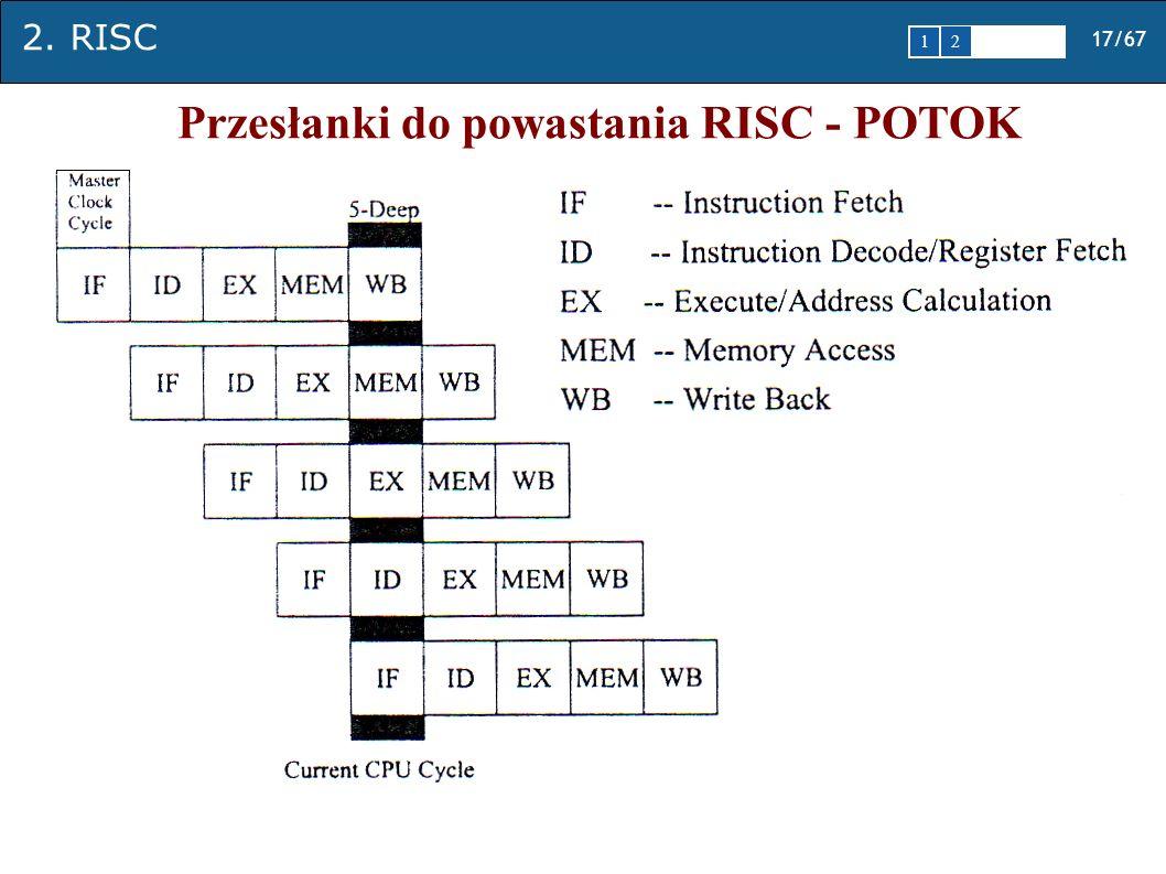 2. RISC 17/67 1 2345 Przesłanki do powastania RISC - POTOK