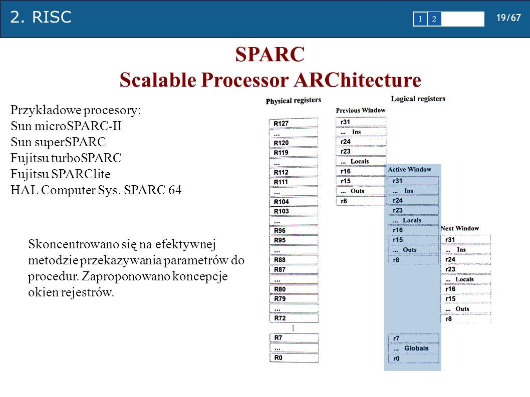 2. RISC 19/67 1 2345 SPARC Scalable Processor ARChitecture Skoncentrowano się na efektywnej metodzie przekazywania parametrów do procedur. Zaproponowa