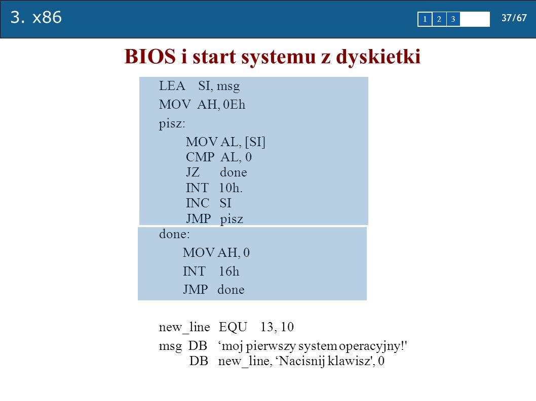 3. x86 37/67 1 2345 BIOS i start systemu z dyskietki LEA SI, msg MOV AH, 0Eh pisz: MOV AL, [SI] CMP AL, 0 JZ done INT 10h. INC SI JMP pisz done: MOV A