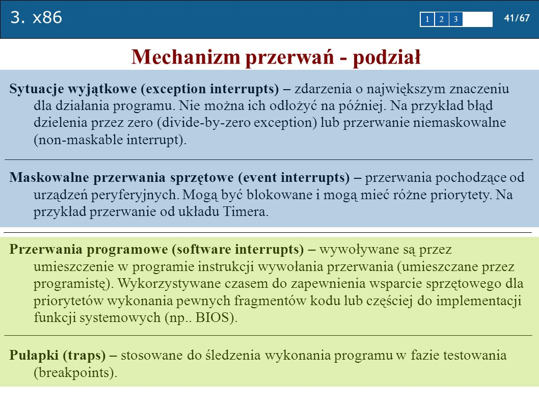 3. x86 41/67 1 2345 Mechanizm przerwań - podział Sytuacje wyjątkowe (exception interrupts) – zdarzenia o największym znaczeniu dla działania programu.
