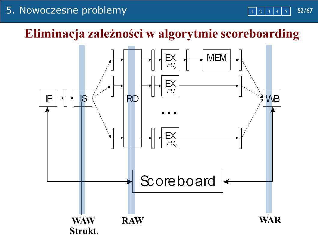 5. Nowoczesne problemy 52/67 1 2345 WAW RAW WAR Strukt. Eliminacja zależności w algorytmie scoreboarding